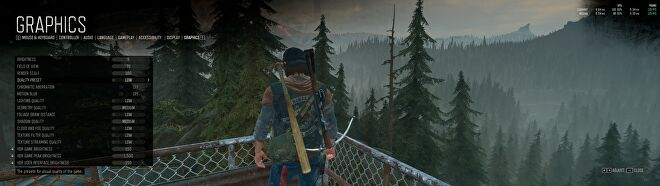 Days Gone's PC graphics menu showing the game using the Low quality preset