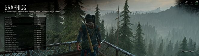 Days Gone's PC graphics menu showing the game using the Medium quality preset