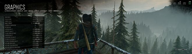 Days Gone's PC graphics menu showing the game using the Very High quality preset