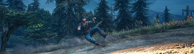 Deacon riding his motorbike in Days Gone