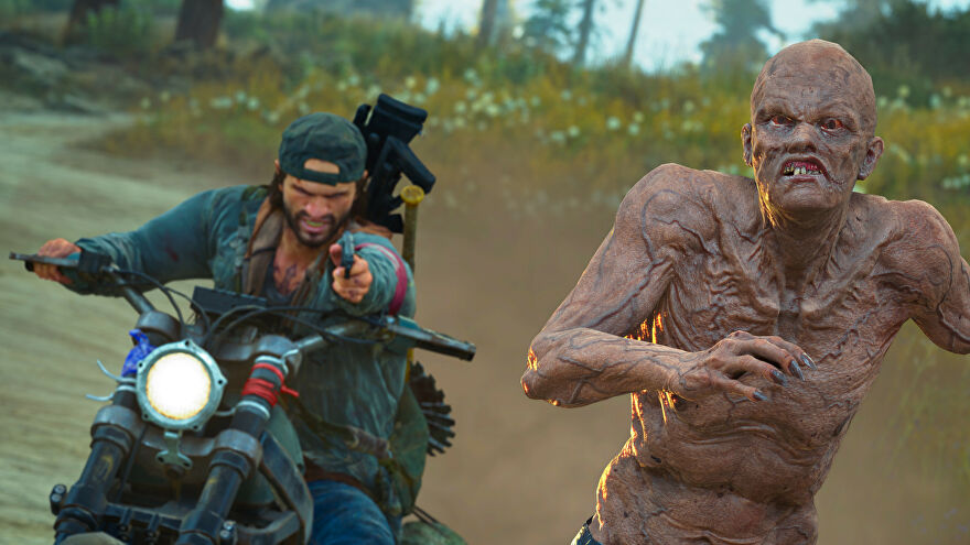 A man on a motorbike aims his pistol at a zombie in a Days Gone screenshot.