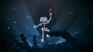 A skeleton person jumps into the sky holding a gold block in De-Exit.