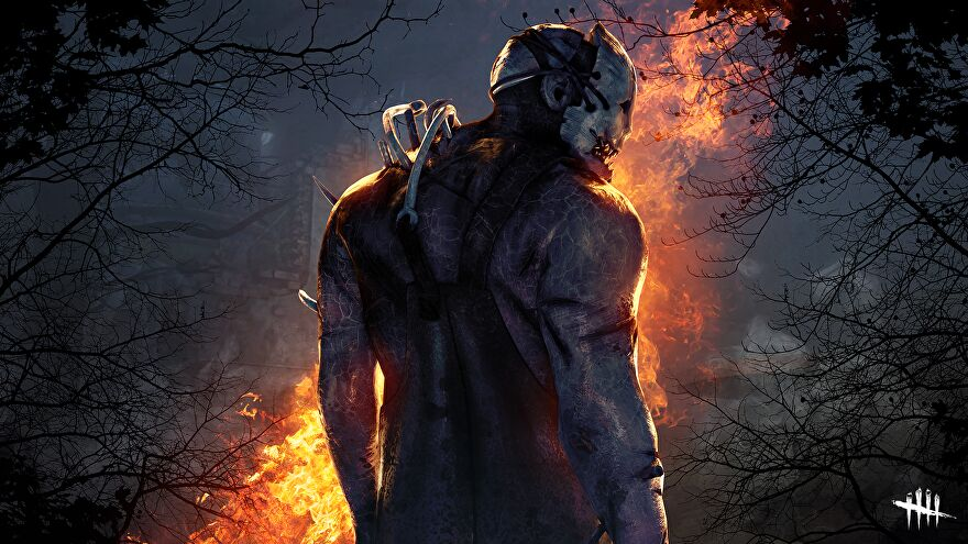 A masked killer faces away from the viewer, towards a fiery forest.
