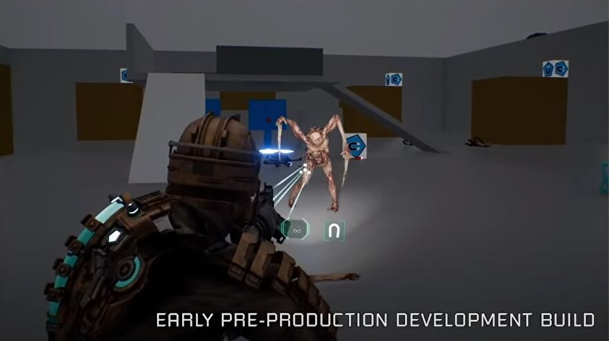 An in-development screenshot of the Dead Space remake, showing a necromorph standing in the dismemberment gym.
