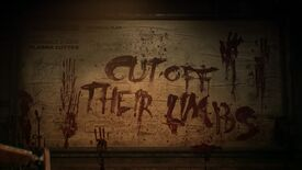 """A still from the Dead Space remake reveal trailer, showing the words """"Cut off their limbs"""" scrawled on a wall in blood by a person who presumably had lost their pen."""