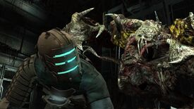A man cowers from an ugly evil monster alien in Dead Space.