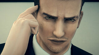 Agent Francis York Morgan taps his temple in a Deadly Premonition 2 screenshot.