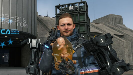 Sam and BB doing a thumbs up and peace sign in Death Stranding