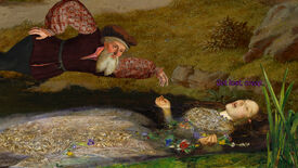 """A screenshot of Death Of A Reprobate, showing a man lying next to a woman submerged in a pond, who is saying, """"Get lost, creep."""""""