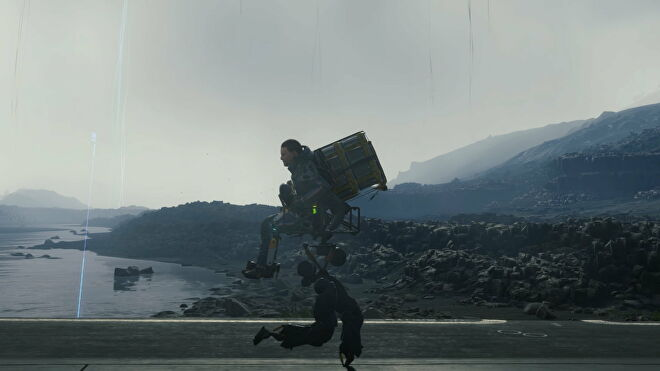 Sam Bridges is being carried by a buddy bot in Death Stranding's Director's Cut