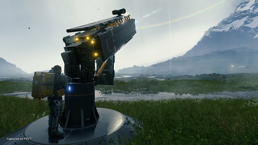 Sam using a new cargo catapult in Death Stranding Director's Cut