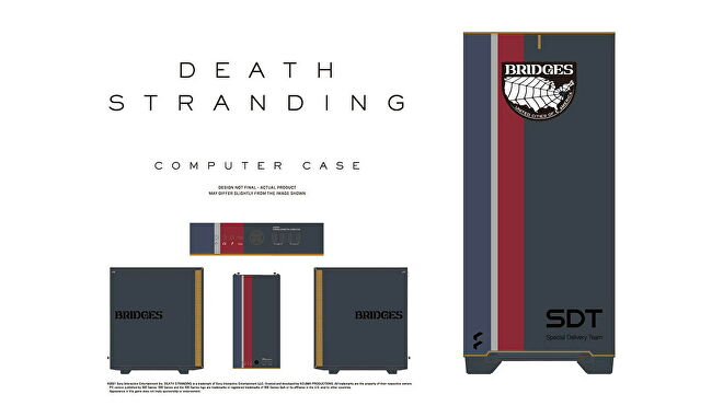 The Death Stranding PC case from all four sides, including its front I/O panel detail