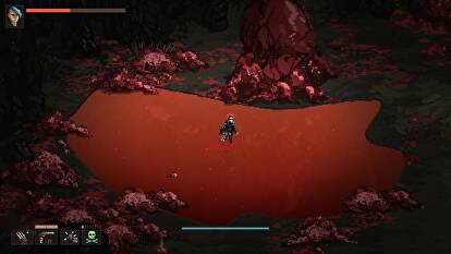 The player character runs through a puddle of blood in Death Trash