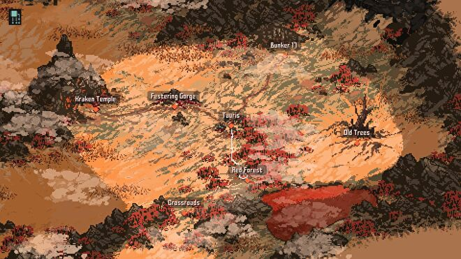 The world map of Death Trash. It has very few location markers, and is mostly yellow with patches of red