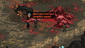 A close-up of the player character in Death Trash asking what's up with all the meat on the ground everywhere