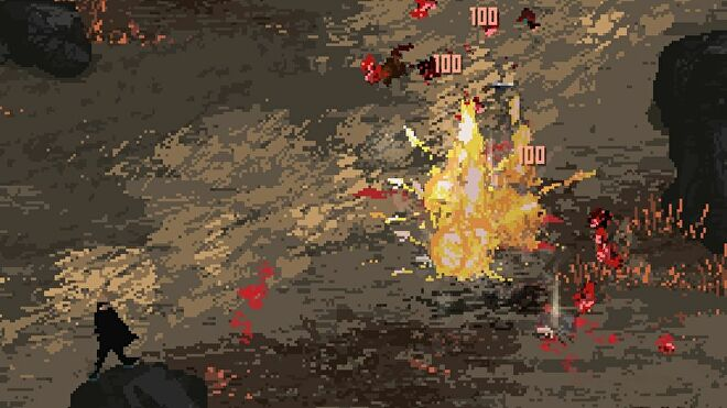 A close up of three enemies being exploded by a mine in Death Trash
