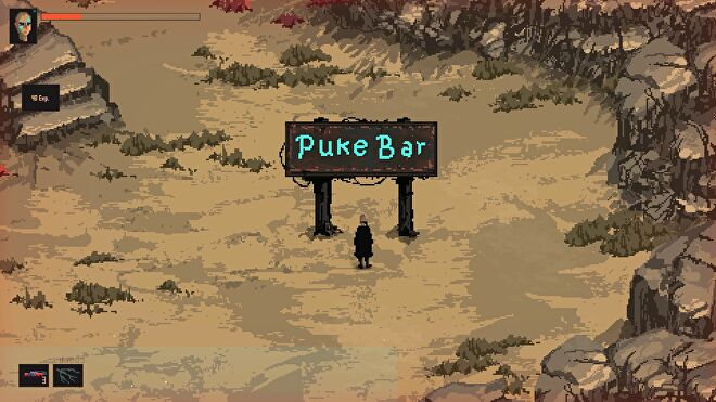 The player character in Death Trash standing in front of a blue neon bar sign that reads Puke Bar