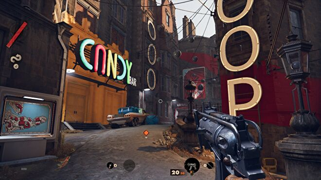 A screenshot of Deathloop running at 1080p, with Low graphics and the FSR Ultra setting.