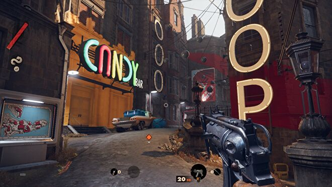 A screenshot of Deathloop running at 1080p, with Medium graphics and the FSR Ultra setting.