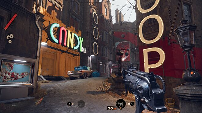 A screenshot of Deathloop running at 1080p, with Ultra graphics and the FSR Ultra setting.