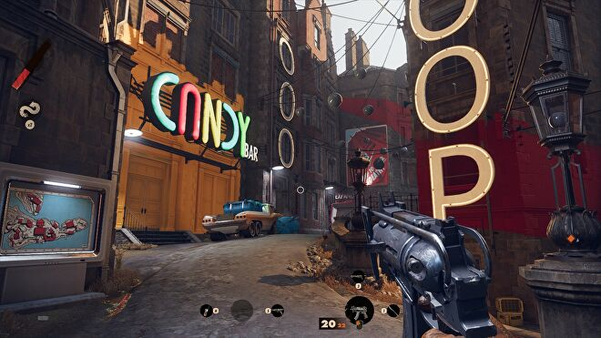 A screenshot of Deathloop running at 1080p, with Very High graphics and the FSR Ultra setting.