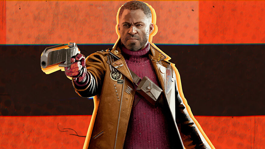 Deathloop's Colt Vahn pointing his gun in front of him, in front of an orange and black background