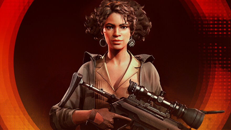 The assassin Julianna Blake poses in Deathloop artwork.