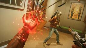 Colt wields one of his paranormal powers in the palm of his hand while facing off against an enemy in Deathloop.