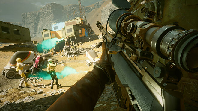 Colt wielding a huge gun in Deathloop, with a group of as-yet-unaware enemies standing a way off in front of him.