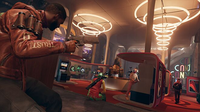 Colt stealthily staking out an arcade/casino in Deathloop.
