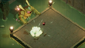 A screenshot of Death's Door showing a big frog man emerging from some water and seemingly smashing part of a platform being stood on by the player, who is a crow.