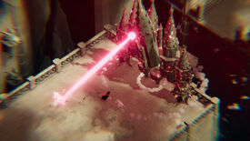 Death's Door - the crow protagonist runs from the pink laser being shot by a large boss enemy