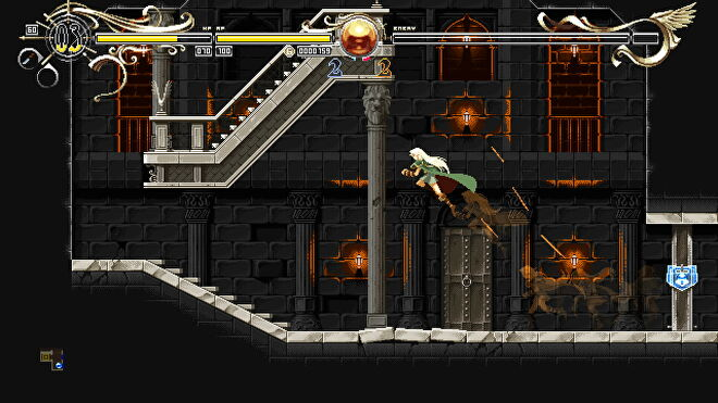 A screenshot of Deedlit jumping through a dungeon environment in Deedlit in Wonder Labyrinth