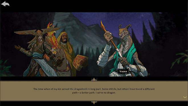 Artwork showing characters in conversation from the Descent: Legends Of The Dark Steam companion app