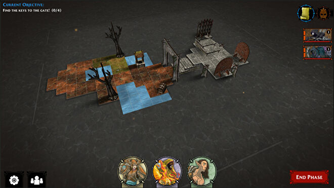 A visualisation of a tabletop game in the Descent: Legends of the Dark Steam companion app