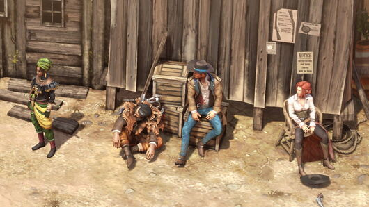 A group shot of the main characters from Desperados 3 sitting at an old outpost