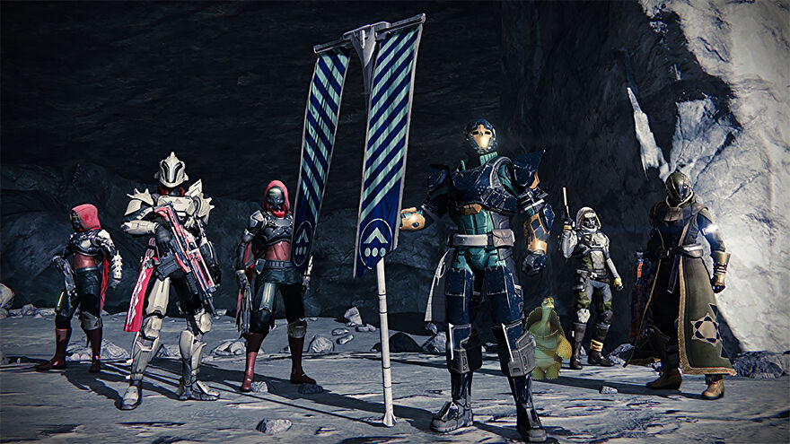 A squad from the original Destiny standing next to a flag, with Kung Fu Panda's Master Oogway also basking in their glory.