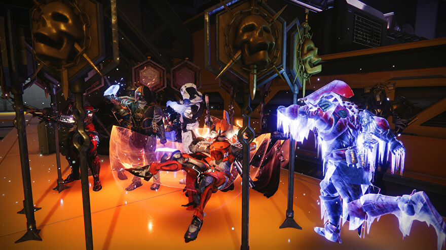 Far too many Guardians and raid banners in a screenshot from Destiny 2's Deep Stone Crypt raid.