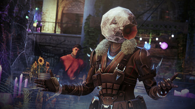 Wearing the Honk Moon mask in a Destiny 2: Festival of the Lost screenshot.