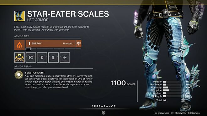 A Destiny 2 inventory screenshot of the Star-Eater Scales trousers.