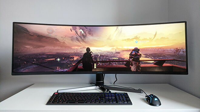 A photo of an ultrawide gaming monitor running Destiny 2