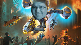 Crypto from Destroy All Humans floating over some scared humans, but he has the face of Gabe Newell rather than his own regular face