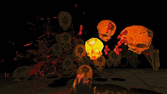 A screenshot of Devil Daggers, showing skulls rushing towards the player's first-person perspective, some glowing, some bursting.