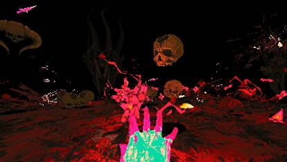 Blasting skulls in a Devil Daggers screenshot.