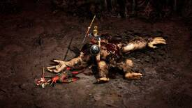 The Amazon player character from Diablo II: Resurrected stands, javelin razed to strike, on top of the corpse of a gargantuan beast. The image has been brightened slightly to make it more visible