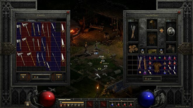 A screenshot from the open beta of Diablo II: Resurrected showing the very small inventory next to an NPCs shop inventory. Both are full of weapons taking up a lot of space