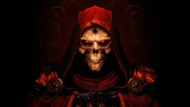A skeletal face in the Diablo 2: Resurrected key art.