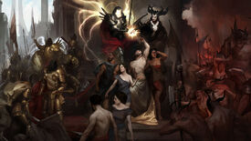 Diablo IV concept art showing Inarius, Lilith, and their forces.