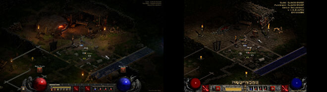 A wide image showing a screenshot of Charsi the blacksmith standing in front of her forge in Diablo II: Resurrected, next to the same scene old version of Diablo II without the enhanced graphics