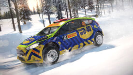 A screenshot of a car racing across a snowy scene in Dirt 4
